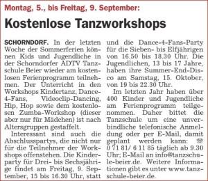 2016_08_25_Schorndorf Aktuell_Kostenlose Tanzworkshops